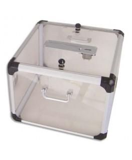 Urne officielle 35 x 25 x 35 cm en plastique haut de gamme aspect verre avec compteur - Viso