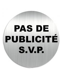 """Plaque de signalisation """"Pas de Publicité S.V.P."""" en aluminium"""