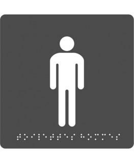 """Plaque de signalisation en Braille """"Toilettes Homme"""" auto-adhésive 15 x 15 x 0.1 cm noir gris - Pavo"""