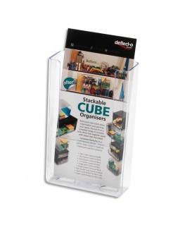 Porte-brochures transparent à dos plat vertical