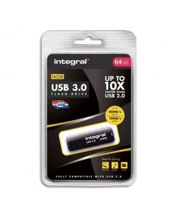 Clé USB 3.0 Noire 64Go INFD64GBNOIR3.0 + Redevance - Integral