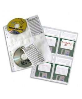 Lot de 5 pochettes format A4 pour 4 CD/DVD pour classeur 5222-19 - Durable