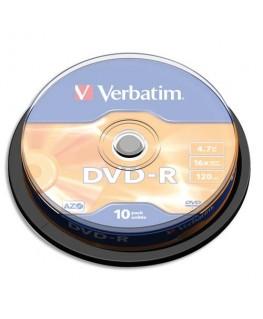 Pack de 10 DVD-R 4.7Go 16x + redevance 43523 - Verbatim®