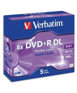 Pack de 5 DVD+R Dual Layer double couche / boîtier cristal 8.5GB 8x + redevance 43541 - Verbatim®