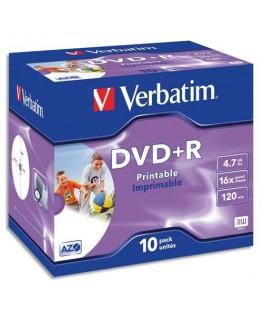 Pack de 10 DVD+R imprimable 4.7Go 16x 043508 + redevance - Verbatim®