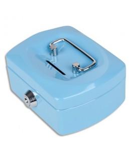 Caissette à monnaie 12.5 cm fente d'insertion + 6 compartiments internes bleu glossy - Pavo