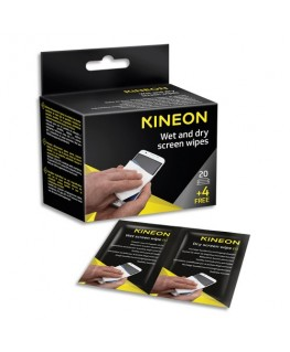 Boîte de 24 lingettes duo humides/sèches pour écrans (20 unités + 4 offertes) - Kineon