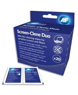 Boîte de 20 sachets de lingettes duo humide et sec pour tous types d'écrans - AF France
