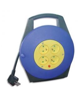 Enrouleur électrique 10 m avec sécurité thermique 4 prises 16A / 250 V - Safetool®