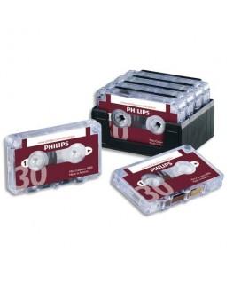 Lot de 10 mini-cassettes pour machine à dicter 2x 15 mm LFH0005/60 - Philips