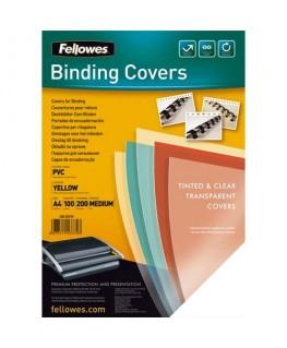 Boîte de 100 plats de couvertures PVC 200 microns A4 jaune  - Fellowes®