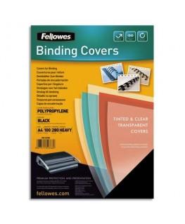 Boîte de 100 plats de couvertures Futura A4 polypropylène noir 280 microns - Fellowes®