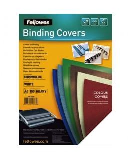 Boîte de 100 plats de couvertures chromolux A4 blanc - Fellowes®