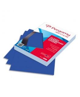 Boîte de 100 plats de couverture brillants A4 250g Bleu - Pergamy