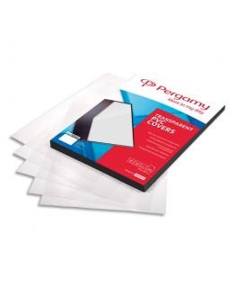Boîte de 100 plats de couverture PVC A4 300 microns transparent - Pergamy