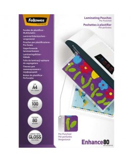 Pack de 100 pochettes pré-perforées brillantes A4 80 microns - Fellowes®