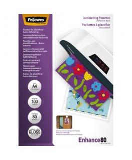 Pack de 100 pochettes A4 dos adhésif 2x 80 microns - Fellowes®