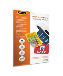 Pack de 25 pochettes de plastification A4 2x 80 microns adhésives repositionnables - Fellowes®