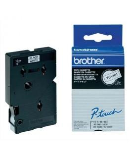 Cassette Ruban TC Noir / Blanc 12 mm x 7.7 m - TC201 - Brother®