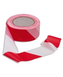 Ruban non adhésif rouge et blanc 100 m x 5 cm - Viso