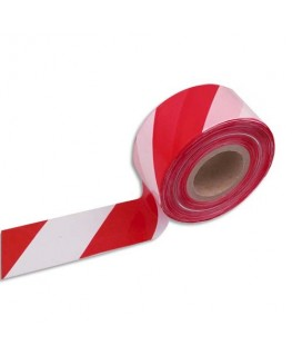 Ruban non adhésif indéchirable rouge et blanc 500 m x 8 cm - Viso