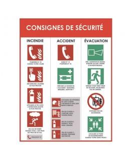 """Panneau """"Consigne de sécurité"""" incendie accident évacuation"""