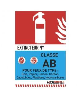 Panneau de signalisation classe feu AB présence d'extincteur à eau pulvérisée - Lifebox