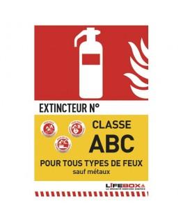 Panneau de signalisation classe feu ABC présence d'extincteur à poudre - Lifebox