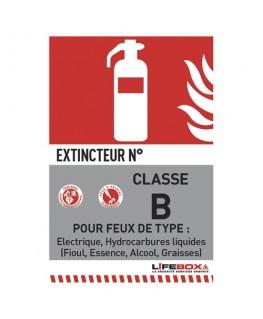 Panneau de signalisation classe feu B présence d'extincteur CO2 - Lifebox