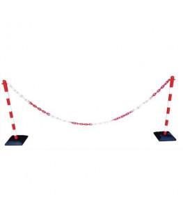 Kit poteaux chaîne plastique rouge et blanc - VISO