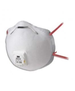 Boîte de 10 masques coque 8833 classification FFP3 R D à élastique rouge avec soupape respiratoire - 3M