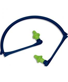 Bouchons d'oreilles mousse polyuréthane reliés par un arceau pliable polypropylène jaune bleu - Delta Plus