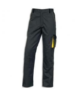Pantalon D-Match 65% polyester 35% coton 6 poches fermeture zip gris jaune Taille L - Delta Plus