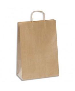 Paquet de 100 sacs kraft brun 110g à poignée torsadées 30 x 42 x 13 cm - Emballage