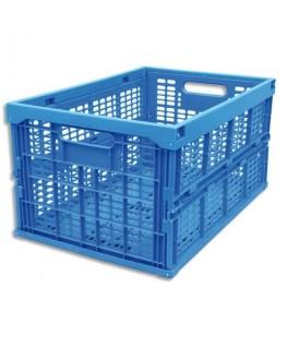 Bac de rangement pliant 45L en polypropylène bleu 35.5 x 27 x 52.5 cm - Viso