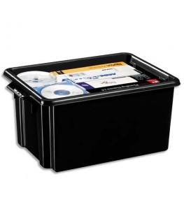 Bac de rangement superposable avec poignée de 32 litres coloris noir - CEP