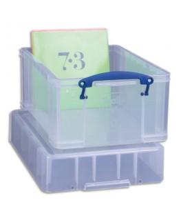 Bac plastique 9L transparent extra large avec couvercle pour disques vinyles L39.5 x H20.5 x P25.5 cm - Really Usefull Box®