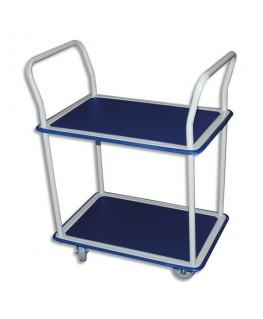 Chariot double plateau bleu en acier blanc