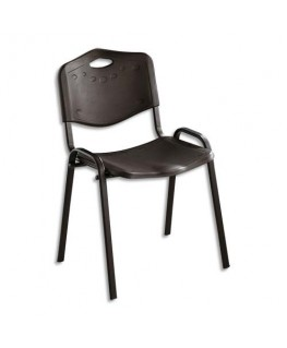 Chaise collectivité Iso Plast assise et dossier en polypropylène noir