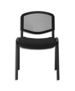 Chaise de conférence Iso Ergo Mesh dossier résille et assise tissu noirs