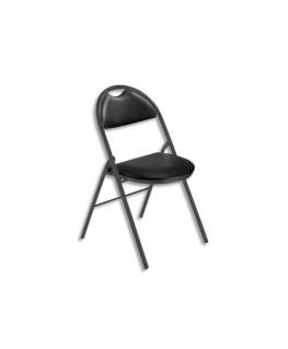 Chaise pliante Arioso en simili cuir noir