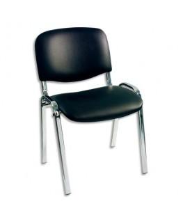 Chaise visiteur noire en vinyle