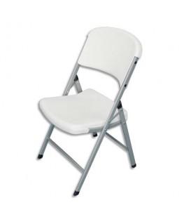 Lot de 4 chaises pliantes blanches en polyéthylène