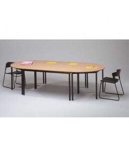 Table polyvalente demi-rond diamètre 120 cm hêtre/noir - Sodematub
