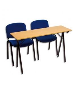 Table formation séminaire hêtre piètement noir 2 places 120 x 40 cm - Sodematub