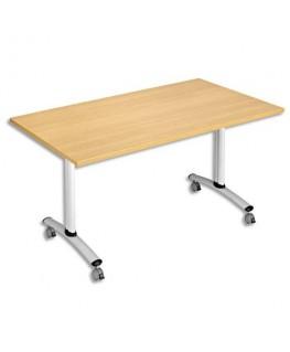 Table mobile à plateau basculant rectangulaire hêtre aluminium