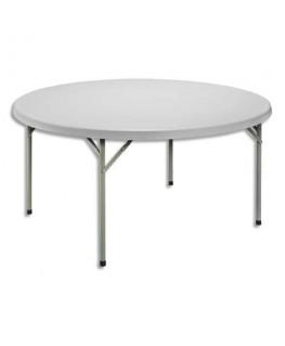 Table ronde pliante gris clair granité en polyethylène - Sodematub