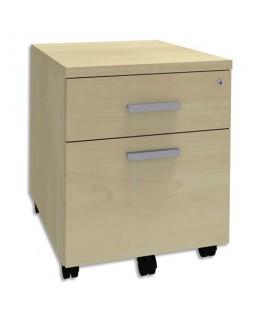 Caisson mobile 2 tiroirs dont 1 pour dossiers suspendus + plumier Steely L43 x H56 x P60 cm Noir / Erable - Simmob