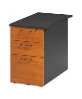 Caisson bout bureau réversible 3 tiroirs dont 1 dossier suspendus Jazz+ L47xH74xP79 cm Aulne gris anthracite - Gautier Office