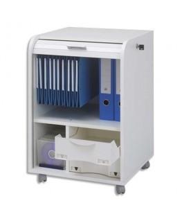 Classeur mobile à rideau Orga Blanc PPSM 1 colonne 2 tiroirs + 1 étage dossiers suspendus